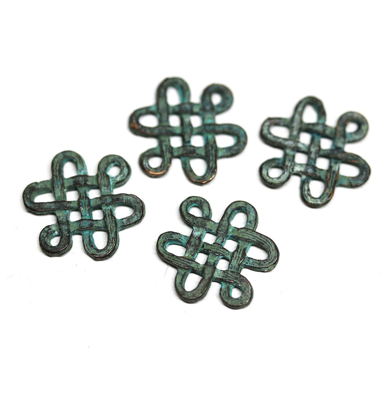 4pc Celtic ornament connector charms, green patina copper