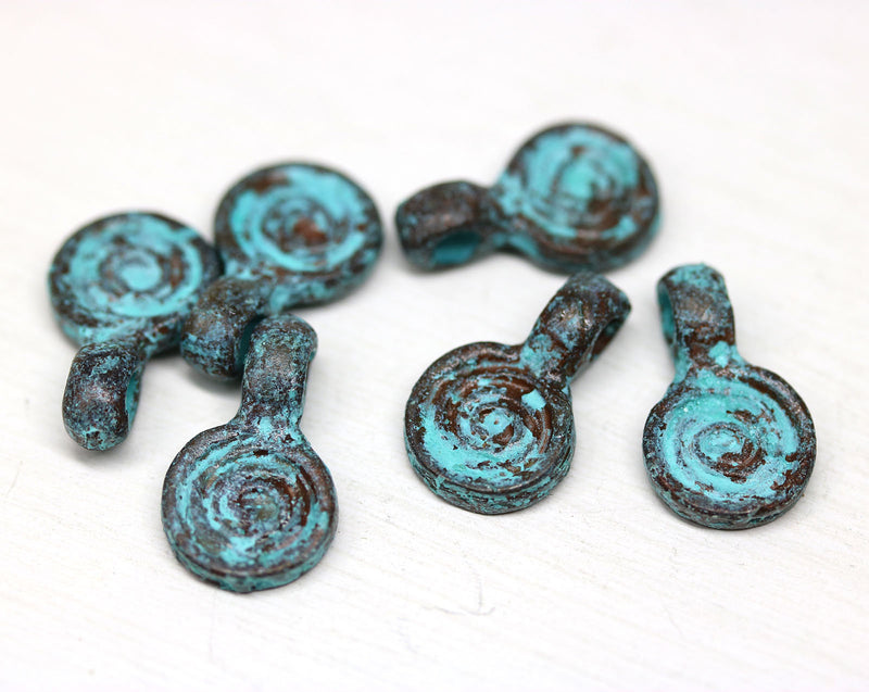 6pc Round Spiral jewelry charms, Green patina 16mm