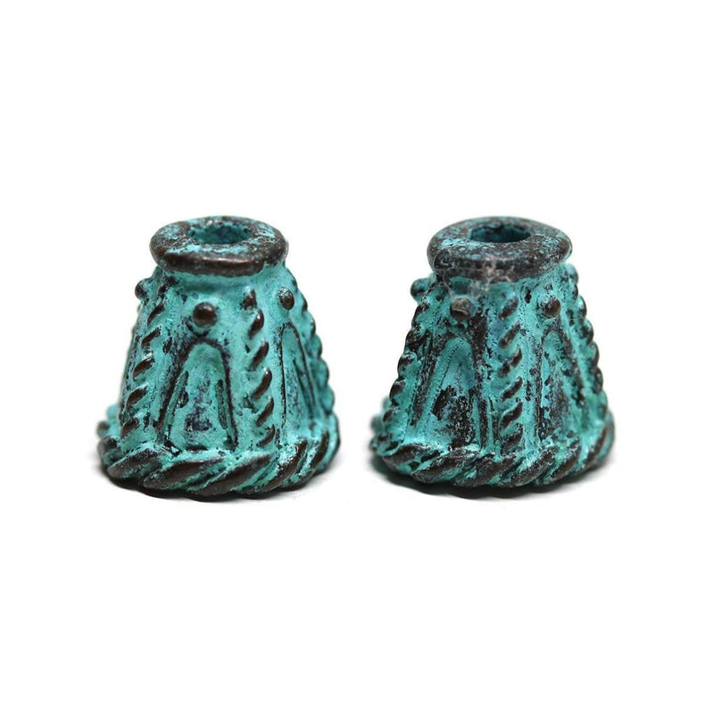 10mm Cone bead caps, Green patina Copper 2Pc