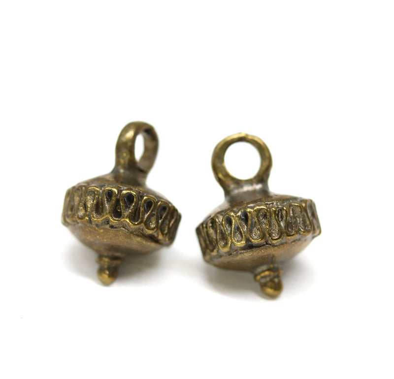 2pc Antique brass Ornament teardrop charms