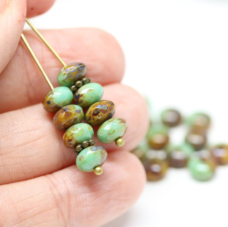 5x7mm Turquoise green rondel beads, Picasso Czech glass - 20pc