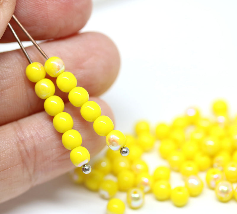 4mm round druk Yellow beads, Czech glass round spacers, AB finish - about 80Pc