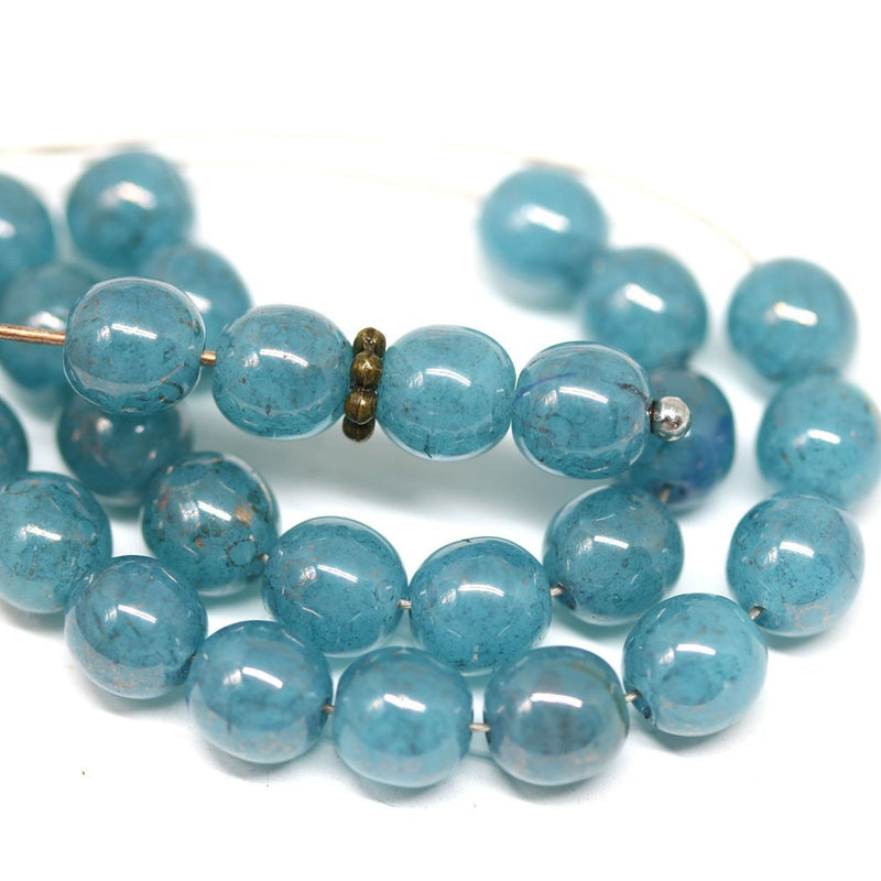 6mm Blue czech glass round beads with luster, 30Pc