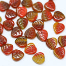9mm Brown red Czech glass leaf beads, Heart shaped triangle leaf - 50pc