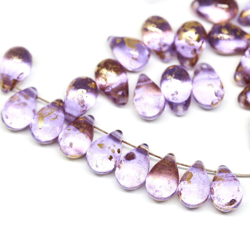 30pc Lilac teardrop glass beads with golden flakes - 6x9mm