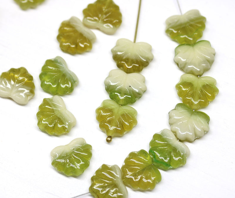 11x13mm Mixed green Maple leaf beads, Olive green Czech glass pressed leaves, 20pc