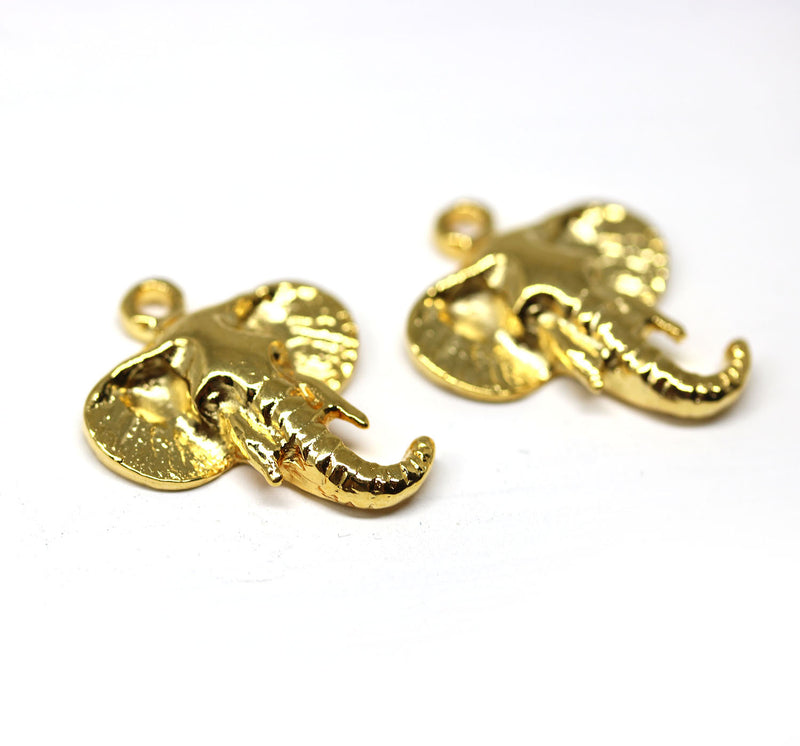 2pc Golden tone Elephant head charms