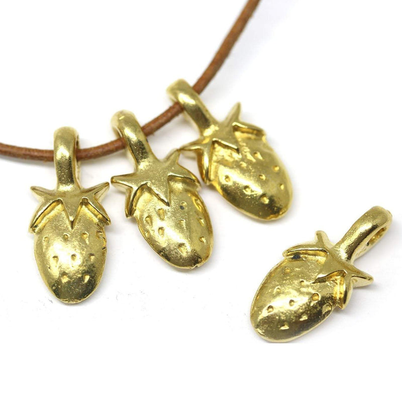 4pc Light brass strawberry charms