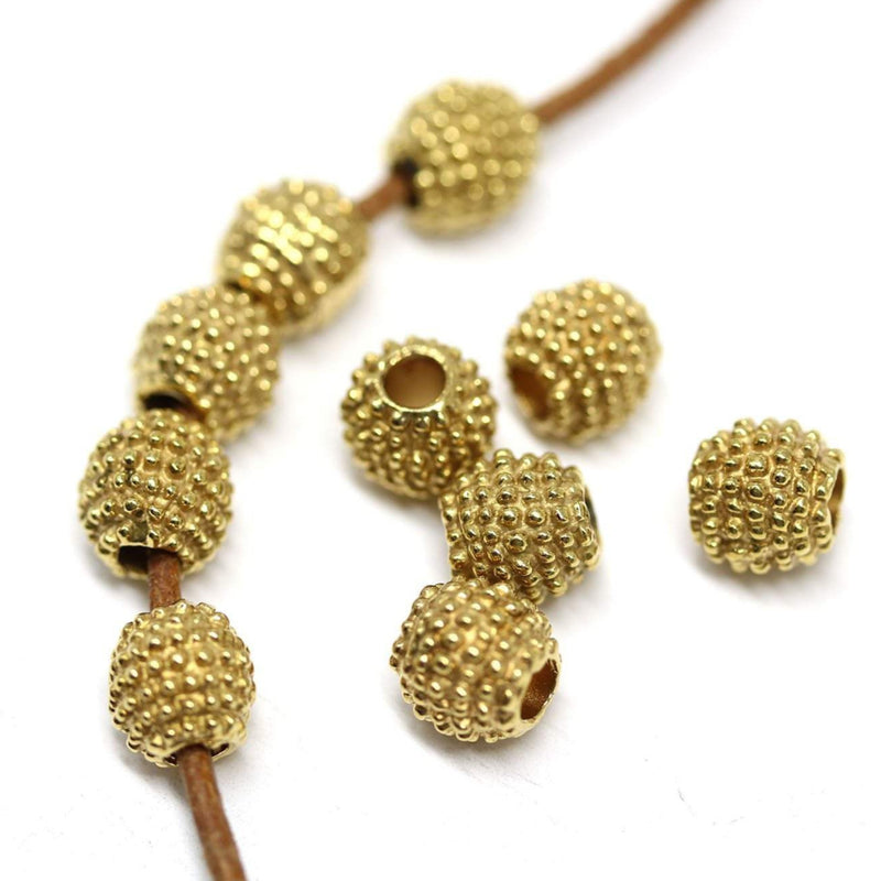 6mm Light brass Round dotty beads, Golden colored 2mm hole 10pc