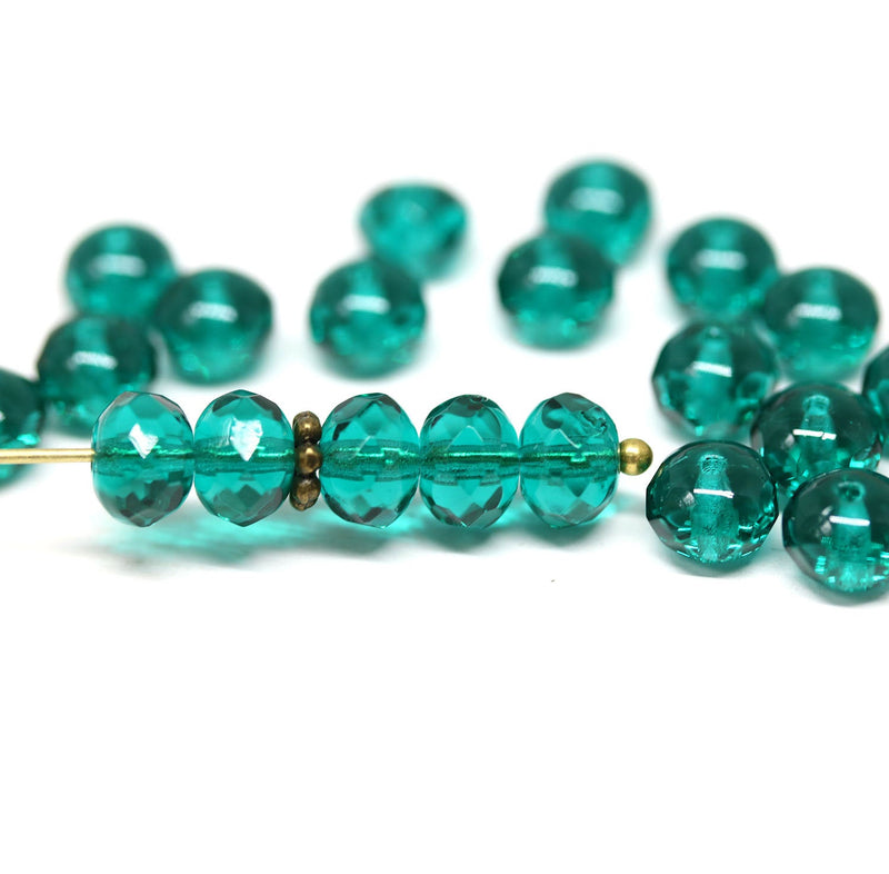 40pc Teal green beads, Czech glass rondelle spacers - 5x7mm