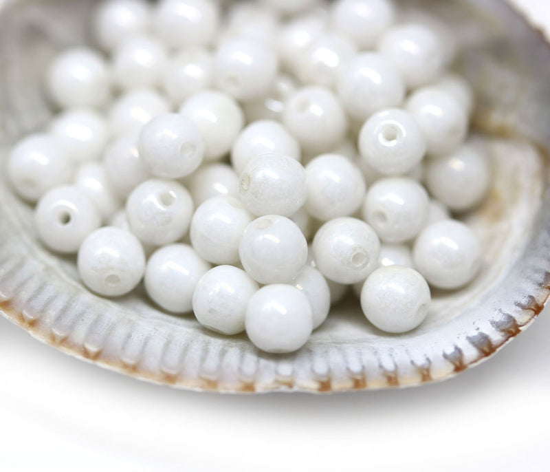 4mm Pearly white Czech glass round druk spacers - about 80Pc
