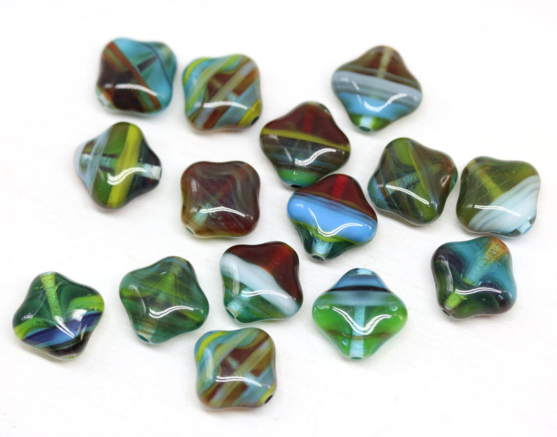 12mm Multicolored Rhombus shape,  mixed color beads -15pc
