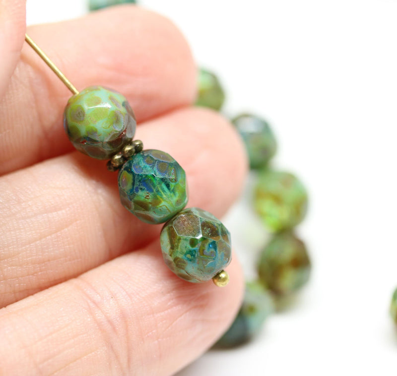 8mm Picasso round beads, Blue green Czech glass fire polished faceted beads 15Pc