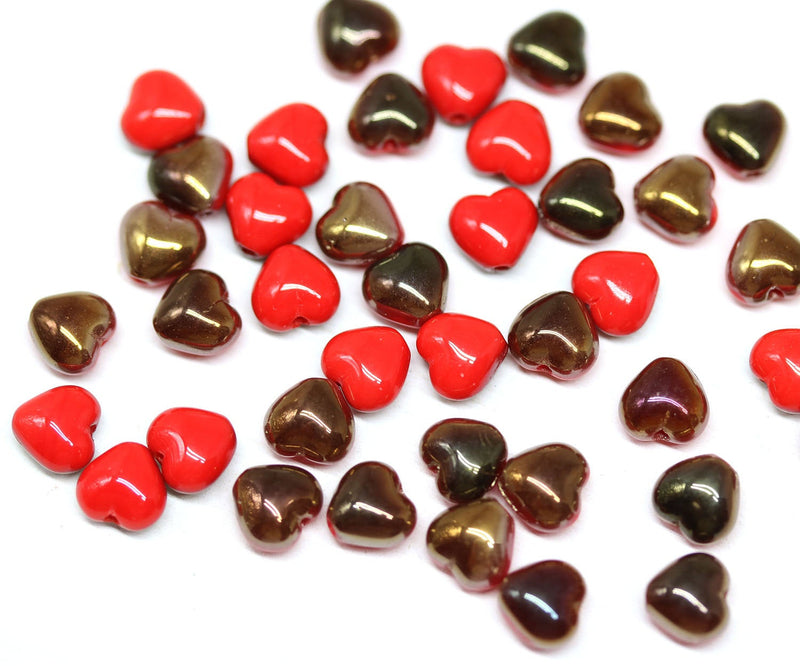 6mm Red heart Czech glass beads, Copper luster - 40Pc
