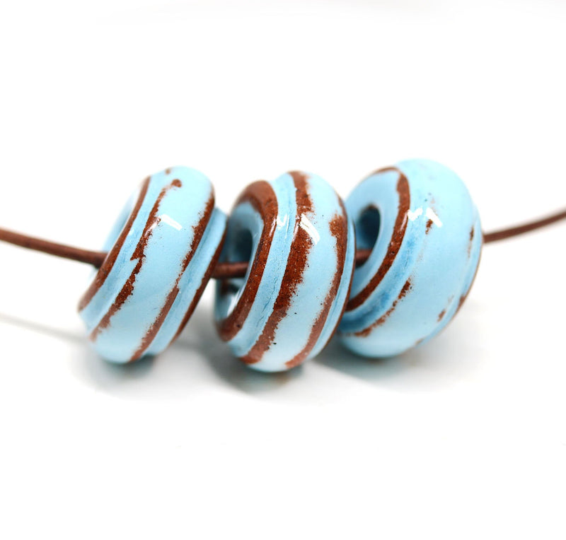 18mm Blue brown ceramic ring pendant beads, 3pc