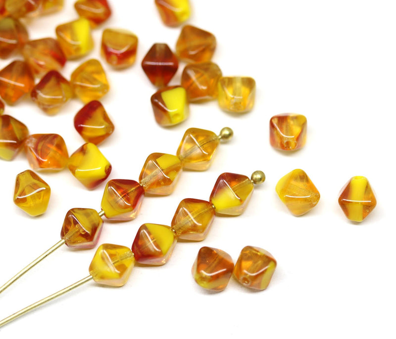 6mm Yellow red bicone beads, Mixed color czech glass pressed beads, 50Pc