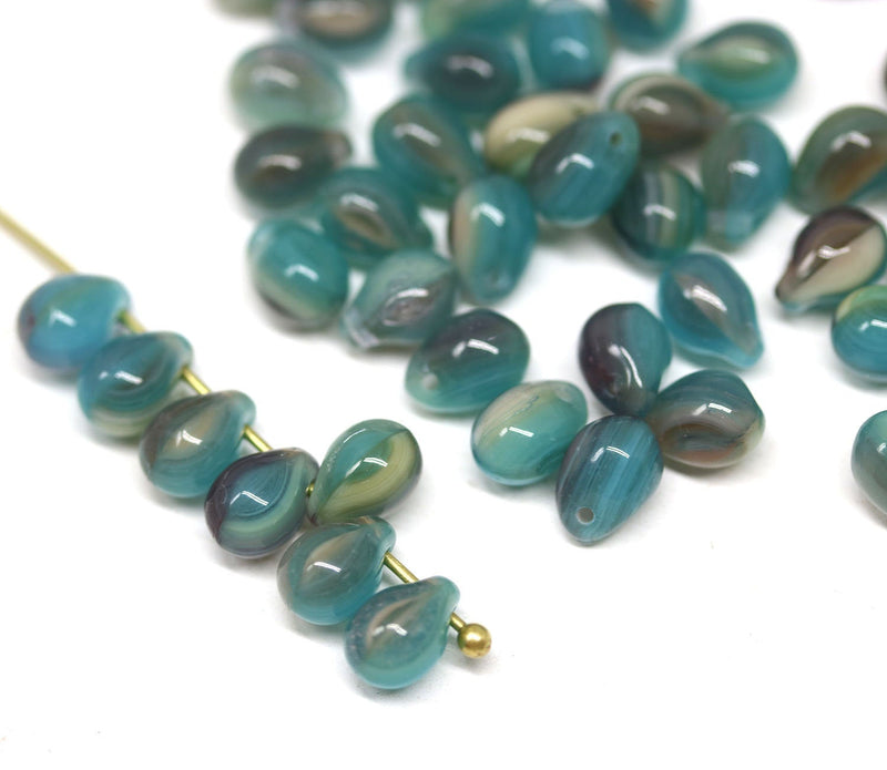 70pc Blue purple teardrops, czech glass top drilled drop beads - 5x7mm