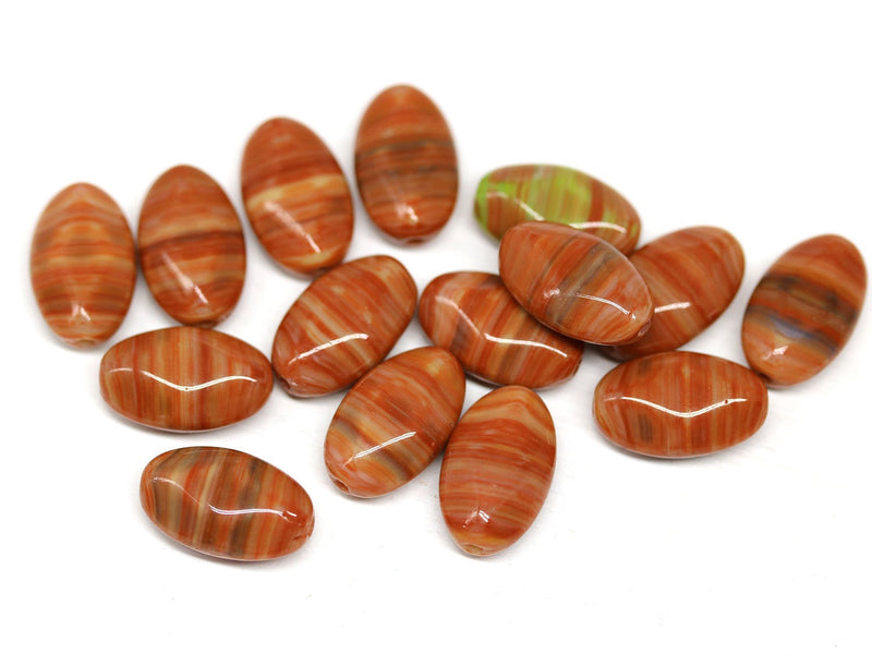 15x9mm Terracotta brown oval, mixed color rhombus beads - 15pc