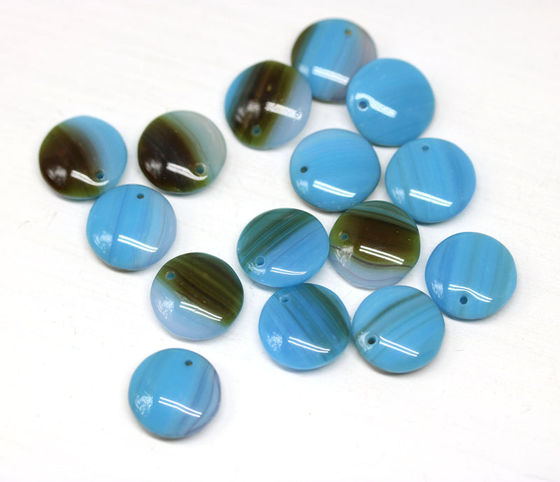 12mm Blue brown lentil czech glass round circle beads - 15Pc