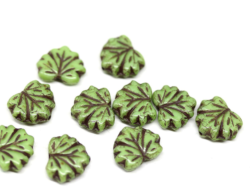 11x13mm Brown inlays Green maple leaf czech glass beads, pressed leaves 20pc