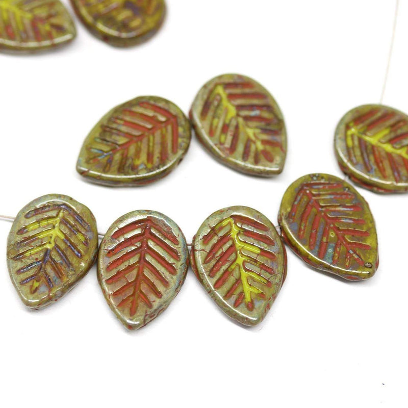 12x16mm Picasso finish czech glass leaf beads, side drilled 6pc
