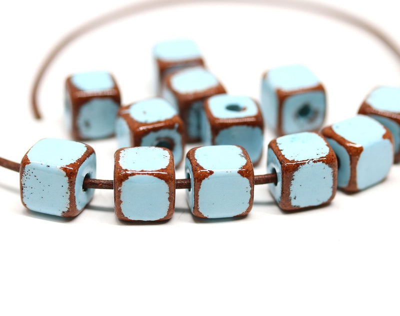10mm Blue brown greek ceramic cube beads 2mm hole, 6pc