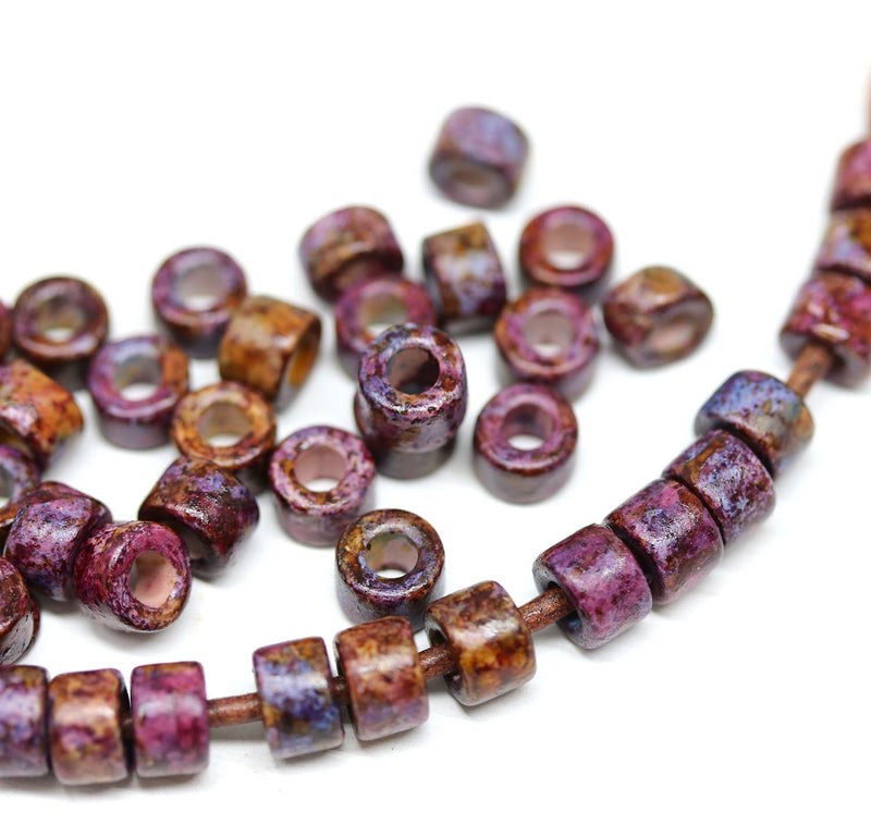 6x4mm Dark purple Brown Ceramic tube rondelle beads, 2mm hole, 40pc
