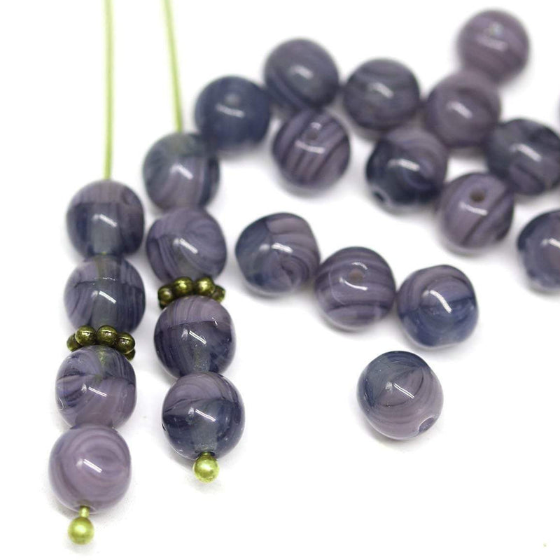 6mm Dark blue purple czech glass round beads, druk pressed spacers 50Pc