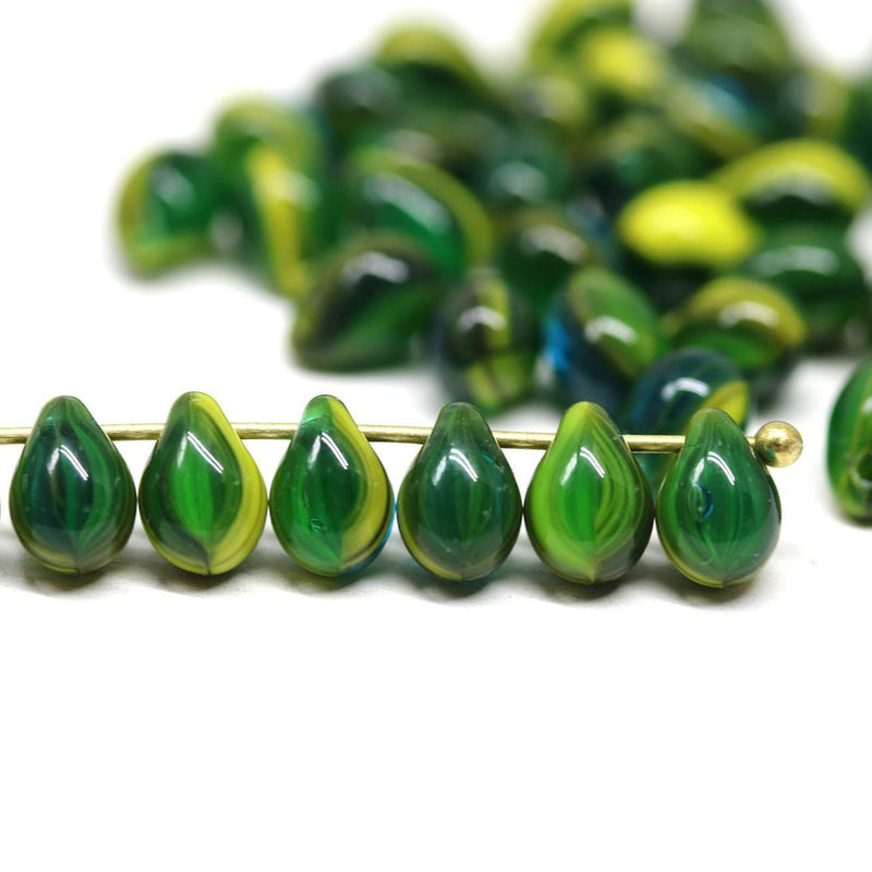 70pc Green yellow teardrops,  czech glass top drilled drop beads - 5x7mm