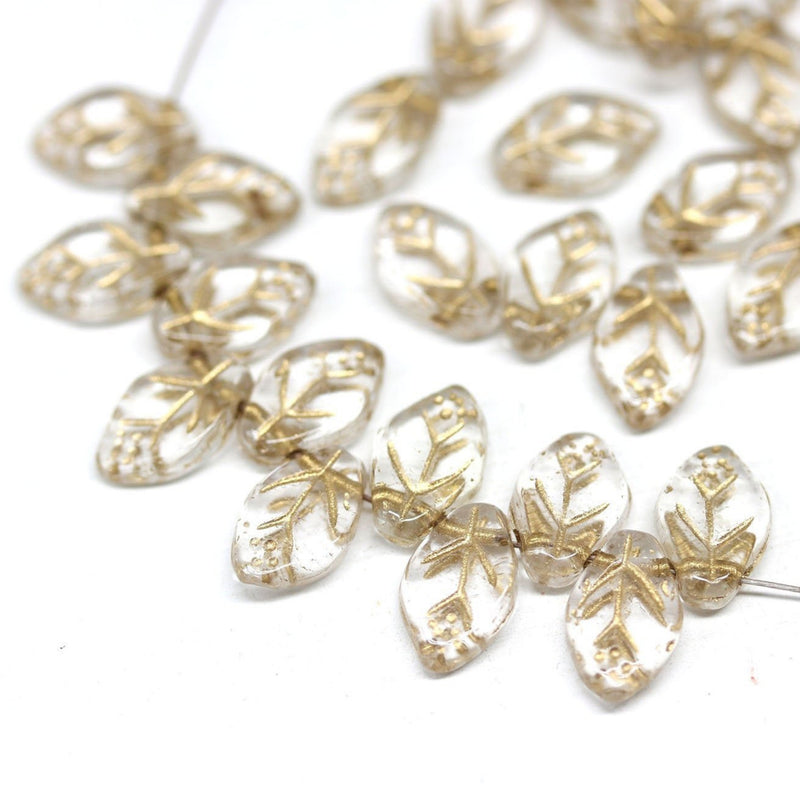12x7mm Crystal clear golden inlays leaf beads, Czech glass - 50pc