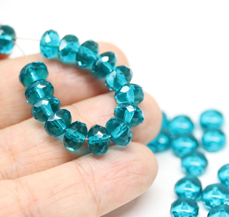 4x7mm Indicolite blue czech glass rondelle beads - 25pc