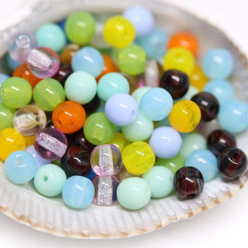 4mm Multicolor czech glass round druk beads mix - approx.160pc