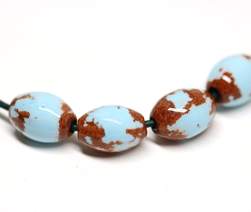4pc Blue brown greek ceramic barrel beads, 2mm hole