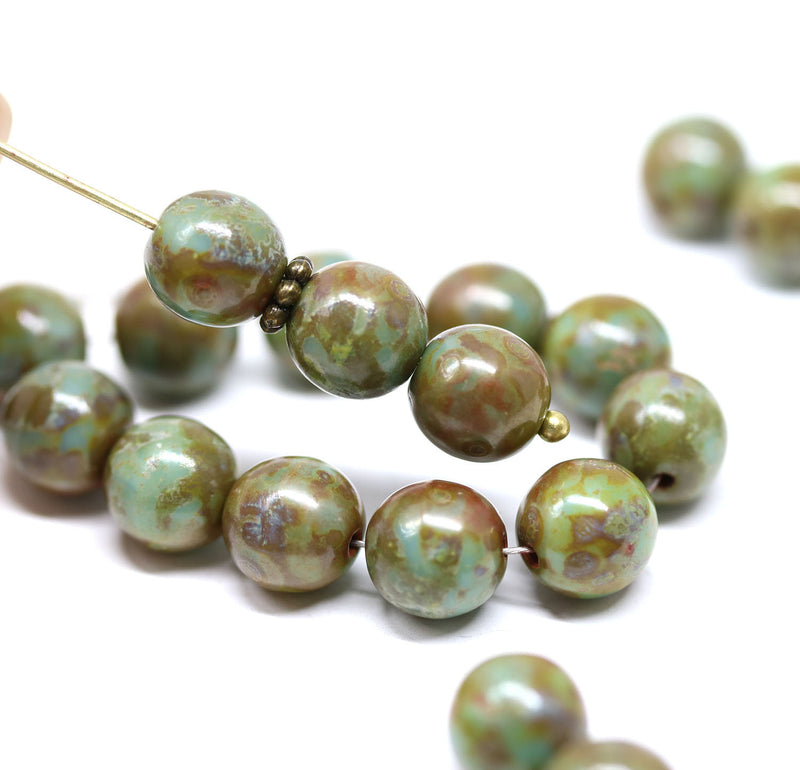 8mm Turquoise green czech glass round beads, Picasso finish 30Pc