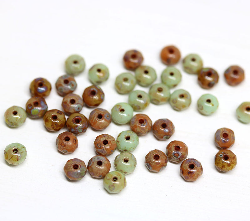 3x5mm Sage green brown Czech glass beads mix - 50Pc