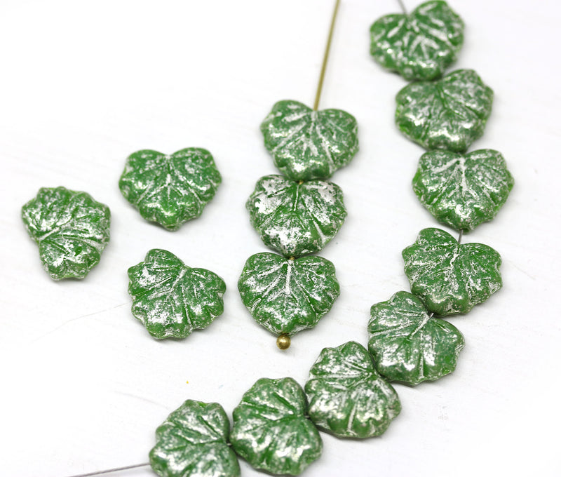 11x13mm Green leaf beads, Silver flakes wash Czech glass maple leaves pressed beads - 20pc