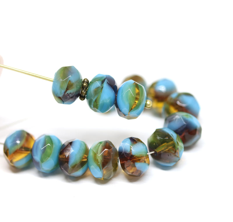 6x8mm Blue brown czech glass donut beads, blue yellow - 15pc