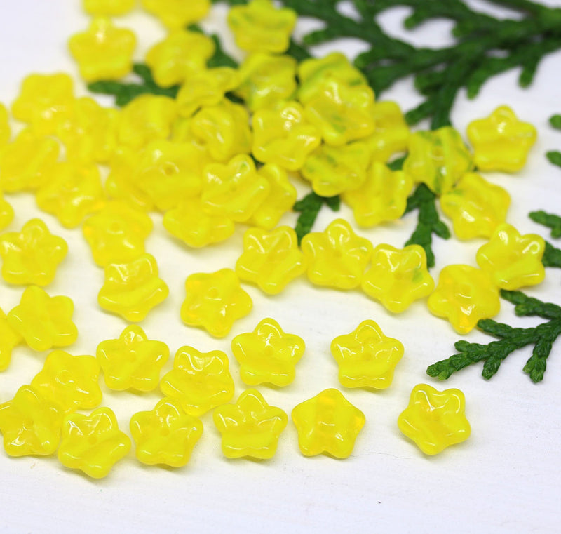 7mm Yellow flower bead caps, Bright yellow Czech glass small floral beads 60Pc