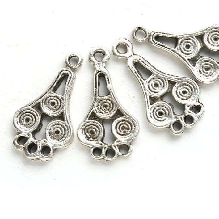 4pc Antique silver Teardrop connectors 3 loops