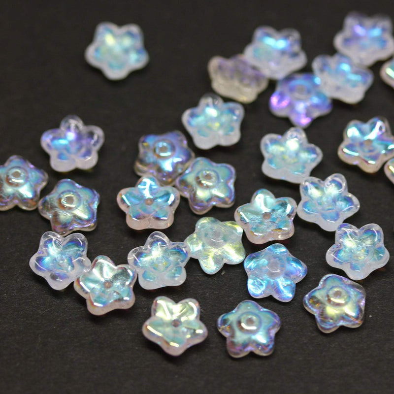 7mm Opal white flower bead caps, AB finish Czech glass small floral beads 60Pc