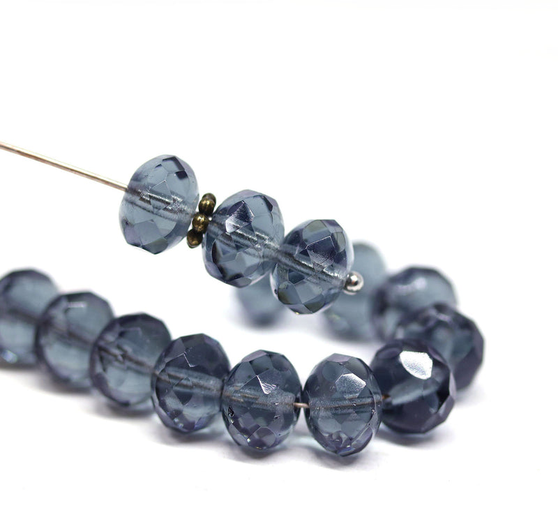 6x9mm Gray blue Czech glass fire polished rondelle beads - 15Pc