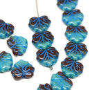 11x13mm Turquoise brown leaf beads, Blue inlays Czech glass maple leaves 20pc