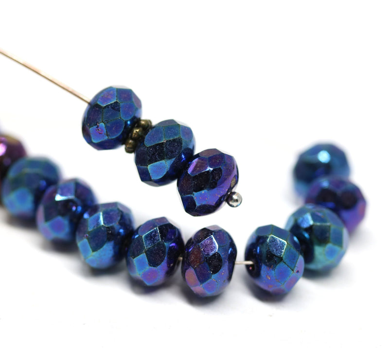 6x9mm Metallic blue Czech glass fire polished rondelle beads - 15Pc
