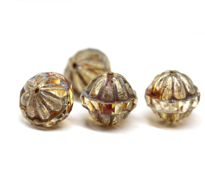 12x14mm Picasso large fancy bicone beads, Light topaz carved Czech glass fire polished beads 4Pc