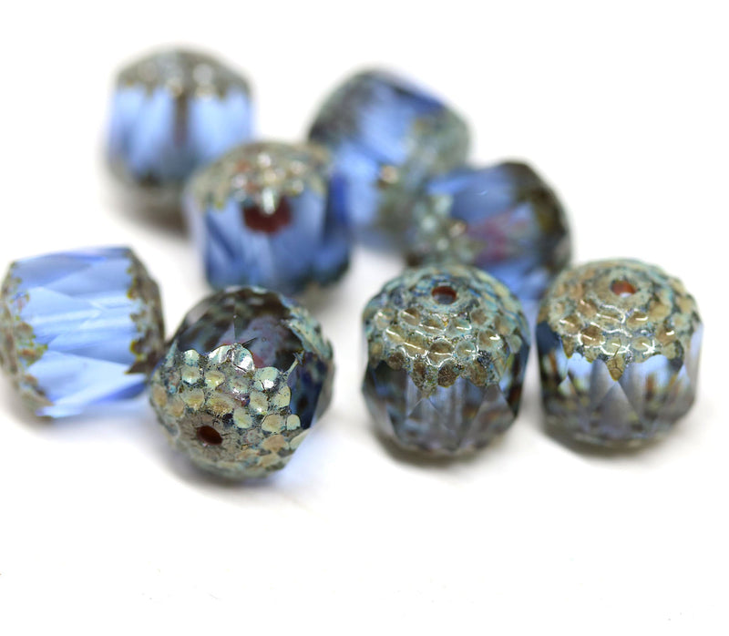 10mm Sapphire blue cathedral czech glass beads, Picasso finish fire polished 8Pc