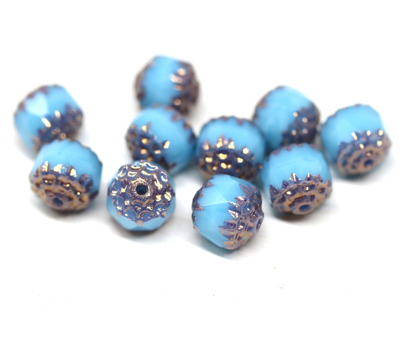 8mm Turquoise blue cathedral czech glass beads, Copper ends 10Pc