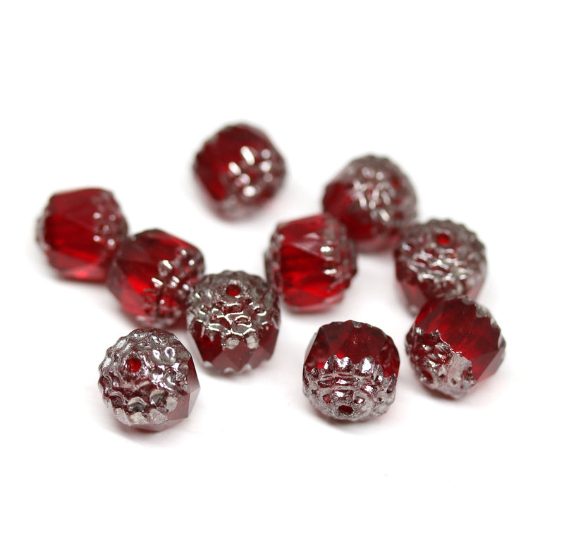 8mm Red cathedral beads with silver ends, czech glass fire polished 10Pc