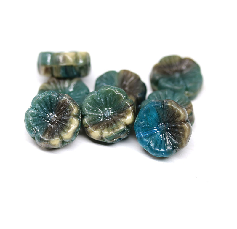 14mm Dark blue green pansy flower, Czech glass flat daisy pressed beads 8Pc