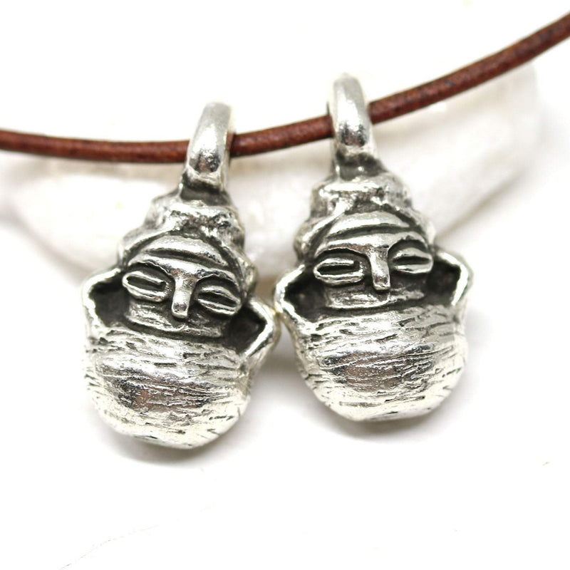 2pc Antique silver primitive goddess Neolithic Idol charms