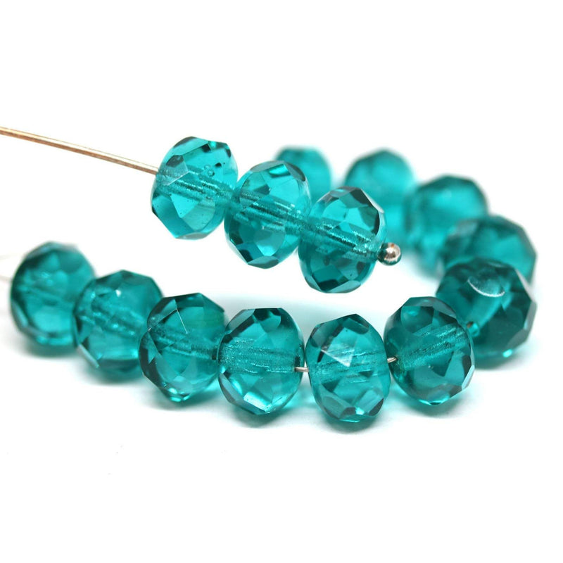 6x9mm Teal green Czech glass fire polished rondelle beads - 15Pc